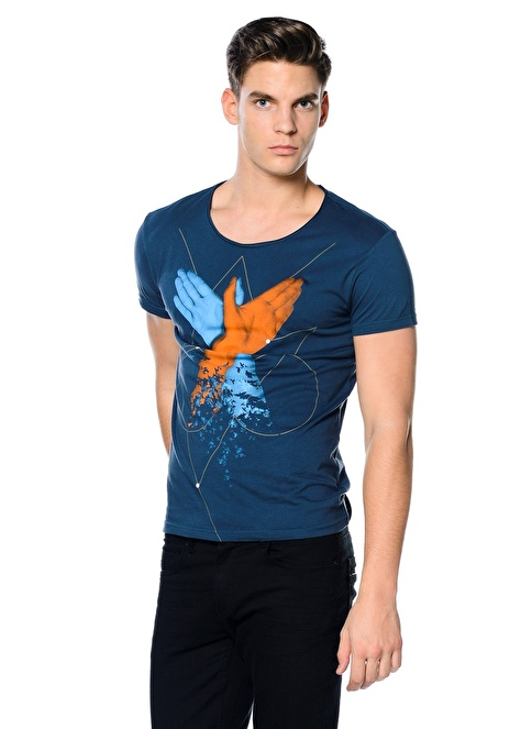 Kaft Baskılı Tişört Mavi